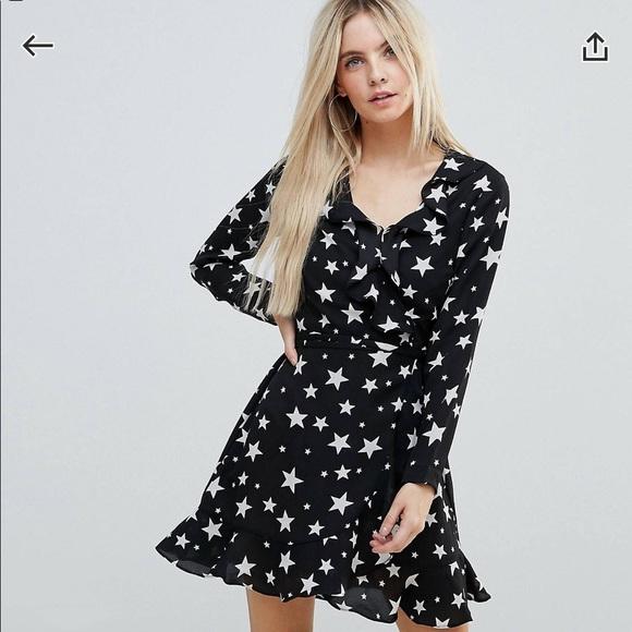 62bc16a2d1 ASOS Petite Dresses   Star Print Ruffle Wrap Mini Dress   Poshmark